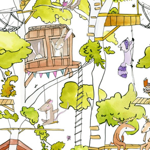 animal friends treehouse on white