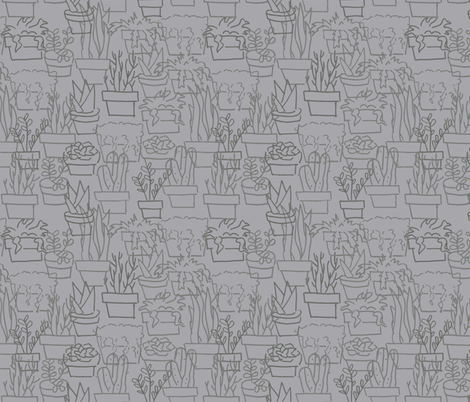 Sketchy Succulents in Grey fabric by justdani on Spoonflower - custom fabric