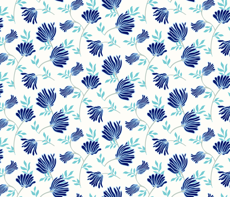 Blue Chinese flowers 18_0198 fabric by daria_rosen on Spoonflower - custom fabric