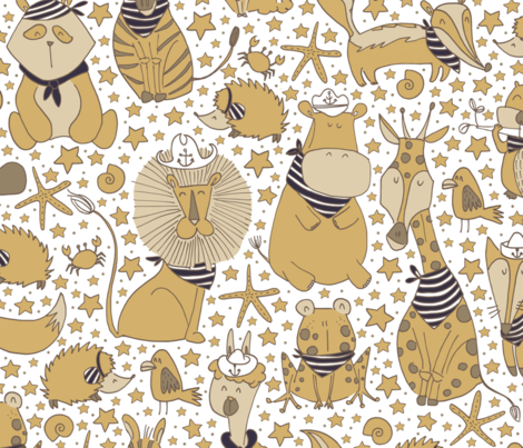Pattern #98 Sailor Animals fabric by irenesilvino on Spoonflower - custom fabric