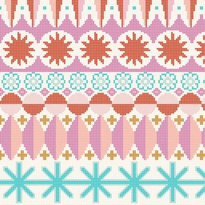 Fair Isle Castle* || faux knit knitting geometric holiday christmas pixel pixels pixelated stars snowflakes diamonds