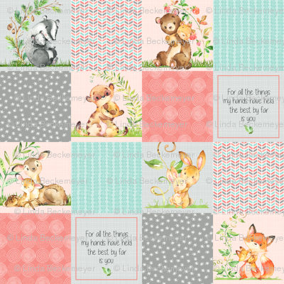 Cute Patchwork Quilt Top - Wholecloth Panel Woodland Animals Baby Girl- Coral, Steel, Mint