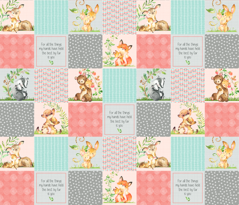 Cute Patchwork Quilt Top - Wholecloth Panel Woodland Animals Baby Girl- Coral, Steel, Mint fabric by gingerlous on Spoonflower - custom fabric