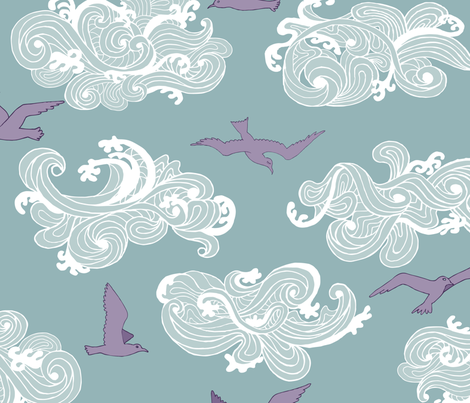 Surf's Up Seagulls fabric by goatfeatherfarm on Spoonflower - custom fabric
