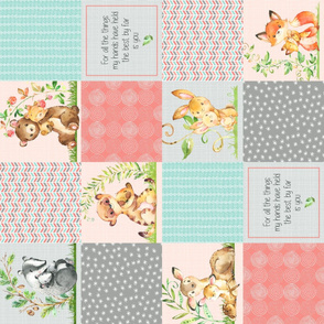 Cute Patchwork Quilt Top ROTATED - Wholecloth Panel Woodland Animals Baby Girl- Coral, Steel, Mint