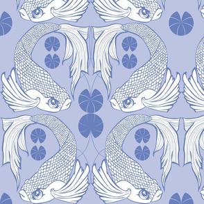 Chinoiserie Koi Blue Fish