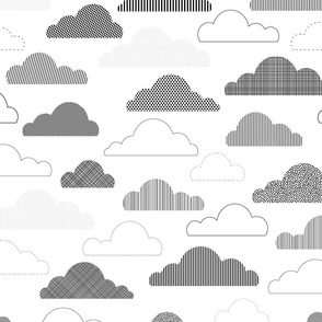 Fluffy Cloud Daydream - Black and White