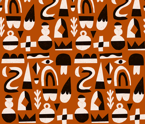 Abstract Winter Shapes on rust fabric by anda on Spoonflower - custom fabric