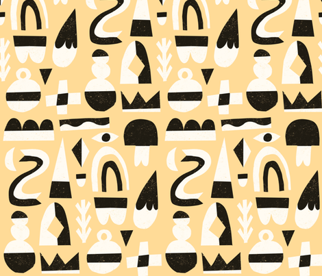 Abstract Winter Shapes on Cream fabric by anda on Spoonflower - custom fabric