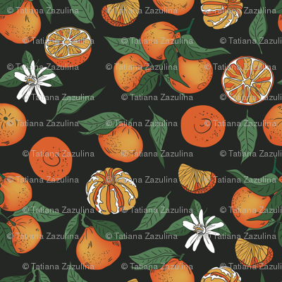 Tangerins on a black background