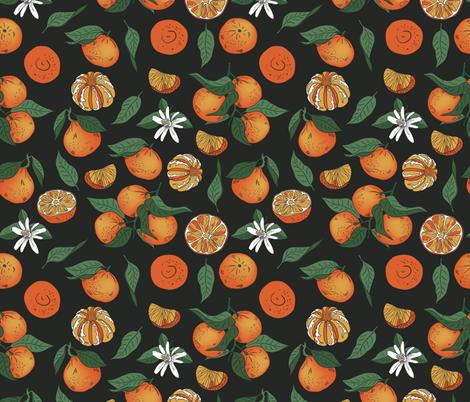 Tangerins on a black background fabric by zazulla on Spoonflower - custom fabric