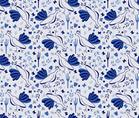 Roadrunners Disoriented by Chinoiserie  fabric by anniedeb on Spoonflower - custom fabric