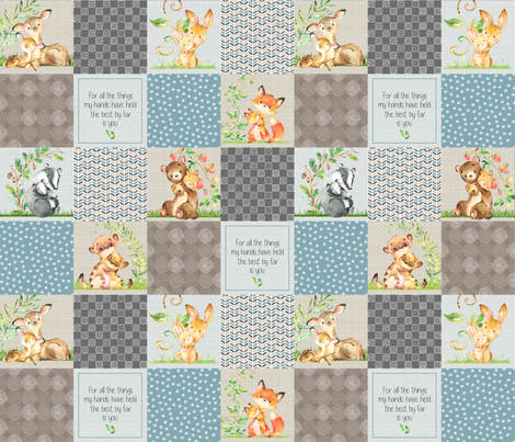 Animals Wholecloth Patchwork Quilt Top - Baby Blanket Panel- Putty, Dark Gray, Pond Blue, Cream fabric by gingerlous on Spoonflower - custom fabric