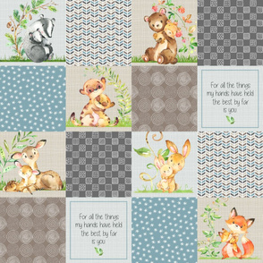 Animals Wholecloth Patchwork Quilt Top - Baby Blanket Panel- Putty, Dark Gray, Pond Blue, Cream