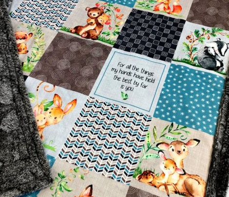 Mama + Baby Animals Patchwork Quilt Top ROTATED - Baby Blanket Panel- Putty, Dark Gray, Pond Blue, Cream