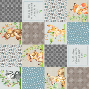 Animals Wholecloth Patchwork Quilt Top ROTATED - Baby Blanket Panel- Putty, Dark Gray, Pond Blue, Cream