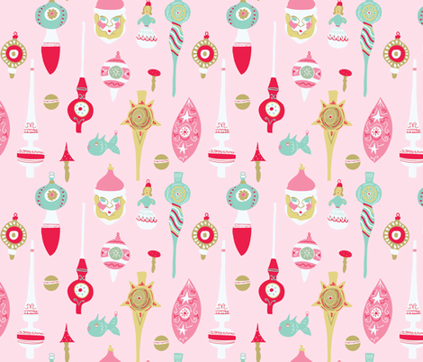 Vintage Christmas Ornaments fabric by criticsdarling on Spoonflower - custom fabric