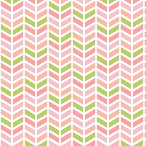 Chevron Herringbone - Peach, Shrimp Pink, Lime Green, Soft Pink