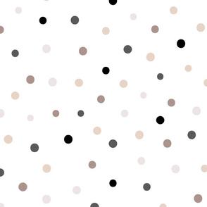 dots neutral girl coordinate // makeup, girls, coordinate, nude, polka dot, jumbo