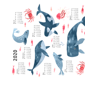 Whales ocean in watercolor Calendar 2020 tea towel