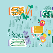 Pickled Veggies bright colors Calendar 2020 tea towel