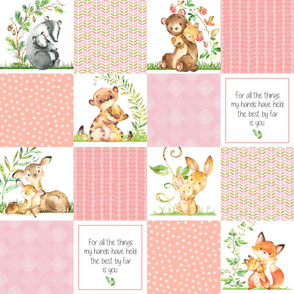 Baby Animals Cheater Quilt Panel - Baby Girl Patchwork Wholecloth- Shrimp Pink, Peach, Soft Pink