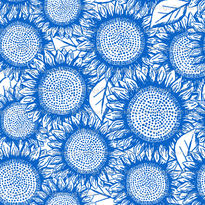 Sunflowers Chinoiserie Blue on white, Tea Towel rotated