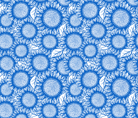 Sunflowers Chinoiserie Blue on white, Tea Towel rotated fabric by heyjunge on Spoonflower - custom fabric