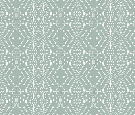 Tribal Drum Sticks, Farm House Green, large fabric by palifino on Spoonflower - custom fabric