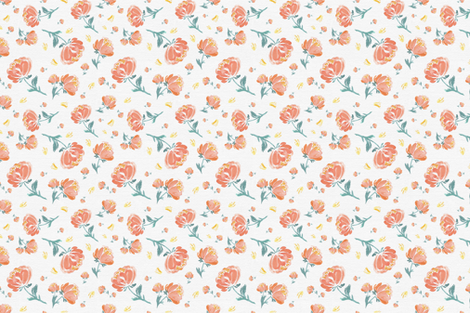 Peach and Green Soft Spoken Peonies fabric by afrancinedesign on Spoonflower - custom fabric