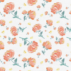 Peach and Green Soft Spoken Peonies