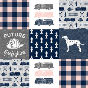 firefighter wholecloth - patchwork - navy,pink, and grey - future firefighter grey