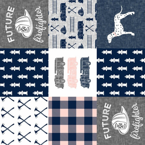 firefighter wholecloth - patchwork - navy,pink, and grey - future firefighter grey (90)
