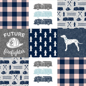 firefighter wholecloth - patchwork - navy,pink plaid, and grey - future firefighter grey