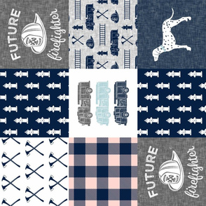 firefighter wholecloth - patchwork - navy,pink plaid, and grey - future firefighter grey (90)