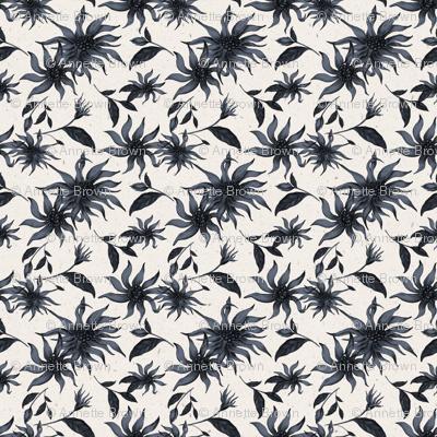Blue Flowers on Cream Texture