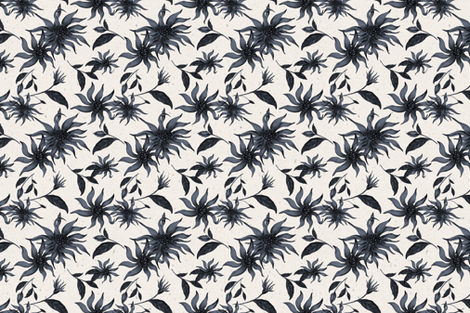 Blue Flowers on Cream Texture fabric by afrancinedesign on Spoonflower - custom fabric