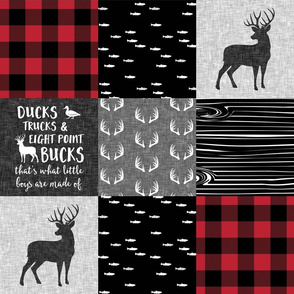 Ducks, Trucks, and Eight Point bucks - patchwork - woodland wholecloth - buffalo check buck