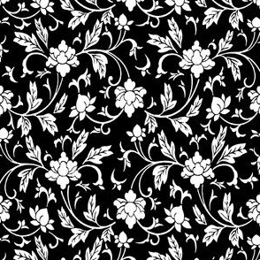 Classic Chinese Flower Pattern Black White