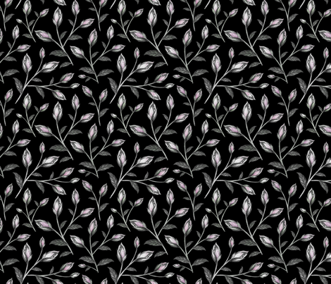 Blush Pink and Purple Floral Pattern on Dark Ground fabric by afrancinedesign on Spoonflower - custom fabric