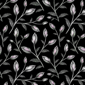 Blush Pink and Purple Floral Pattern on Dark Ground