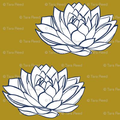 Navy and white lotus on mustard