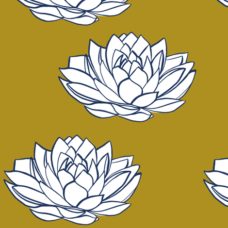 Navy and white lotus on mustard fabric by tarareed on Spoonflower - custom fabric