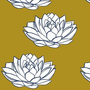 Navy and white lotus on mustard