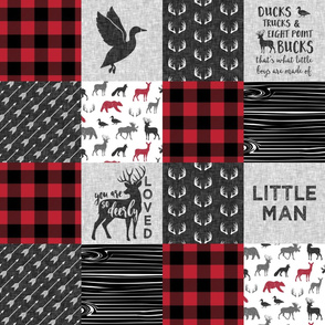 Little Man - Ducks, Trucks, and Eight Point bucks - patchwork / So Deerly Loved - woodland wholecloth - buffalo check duck & buck