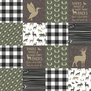 Ducks, Trucks, and Eight Point bucks - patchwork -  woodland wholecloth - buffalo check green and brown duck & buck