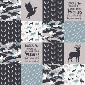 Ducks, Trucks, and Eight Point bucks - patchwork - woodland wholecloth - camo dusty blue duck & buck (90)