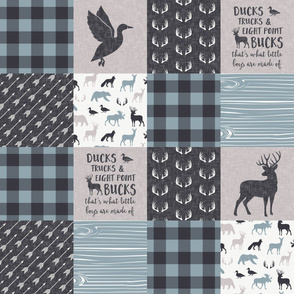 Ducks, Trucks, and Eight Point bucks - patchwork - woodland wholecloth - buffalo check dusty blue duck & buck