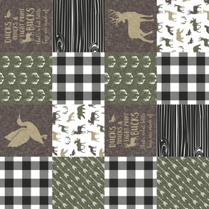 Ducks, Trucks, and Eight Point bucks - patchwork  - woodland wholecloth - buffalo check green and brown duck & buck (90)