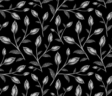 Black Background Floral Pencil Drawing fabric by afrancinedesign on Spoonflower - custom fabric